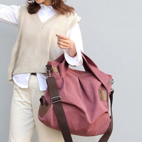 KVKY Canvas Casual Large Capacity Tote Handbag Crossbody Bag