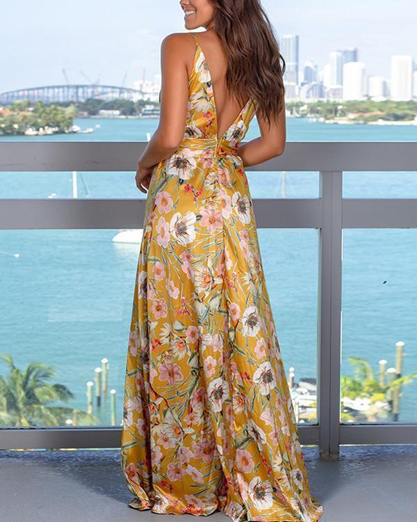 Fashion Strap Floral Print  Beach Maxi Dress