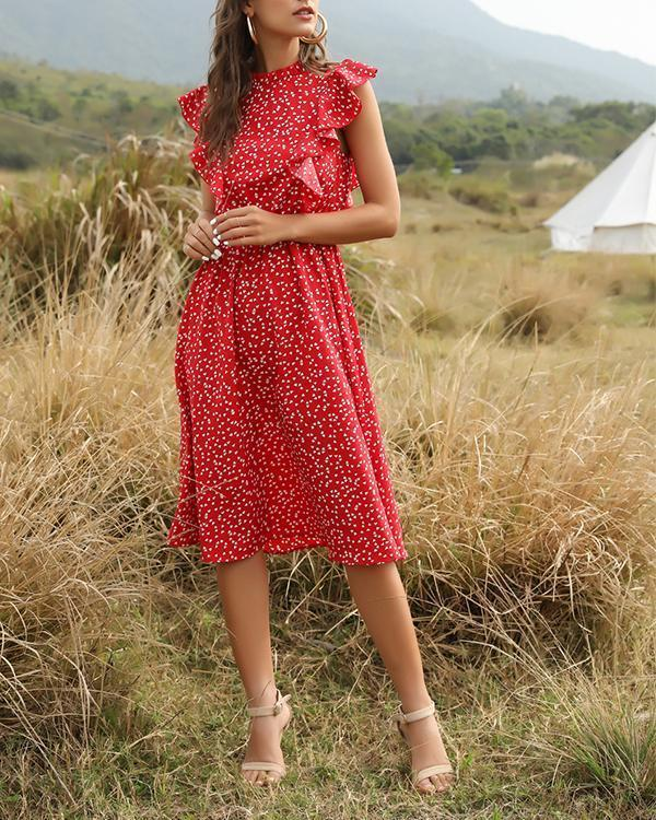Casual Ruffle Patchwork Round Neck Midi A-line Dress