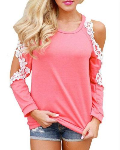 Round Neck Crochet Lace Cold Shouder Tops
