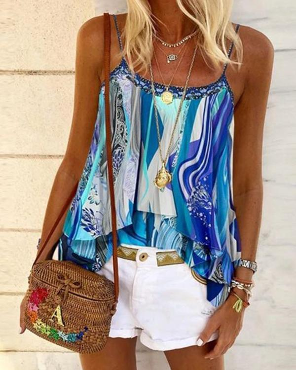 Floral Casual Camisole Neckline Sleeveless Blouses