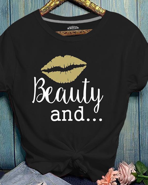 Basic Short Sleeve Print Casual T-shirt