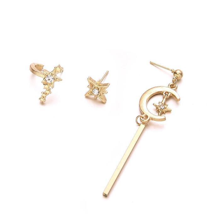Jewelry-Bohemian Retro Star Moon Earrings Sets