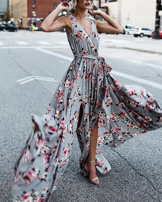 Bohemian Floral Printed Sexy Elegant Women Fashion Maxi Dresses