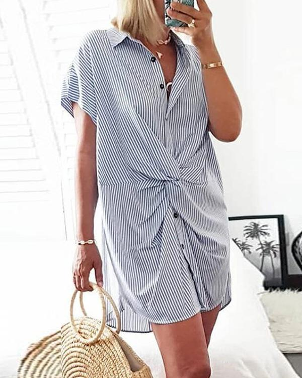 2020 Hot Striped Blue Mini Dress