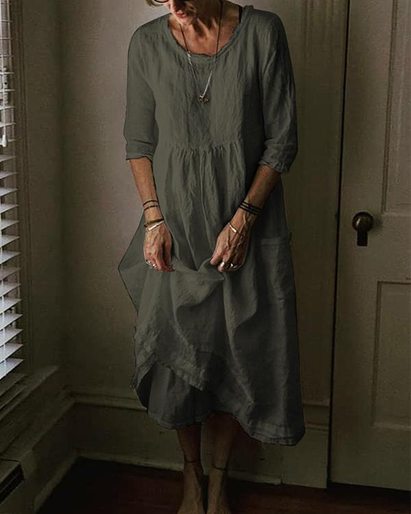 Plus Size Casual Solid Linen 3/4 Sleeve Crew Neck Pockets Dresses