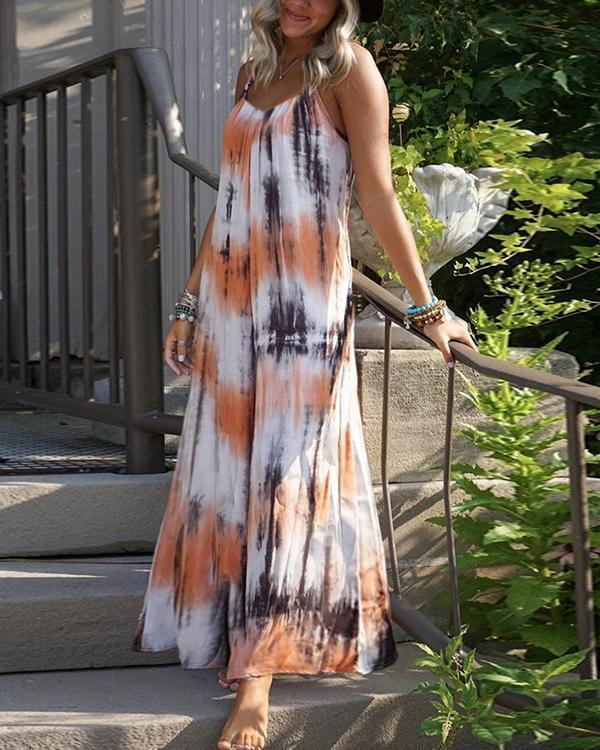 Orange Striped Spaghetti Strap Pleated Bohemian Beachwear Maxi Dress