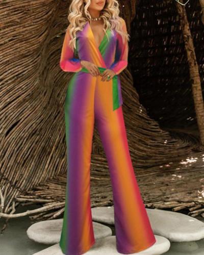 Fashion V Neck Bishop Sleeve Striped Jumpsuit