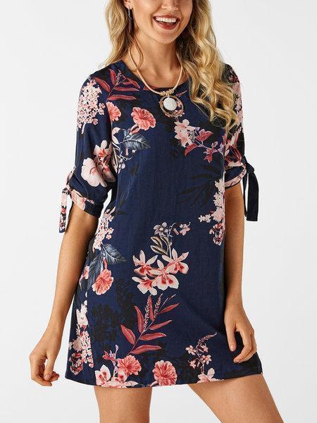 Random Floral Print Self-tie at Sleeves Mini Dresses