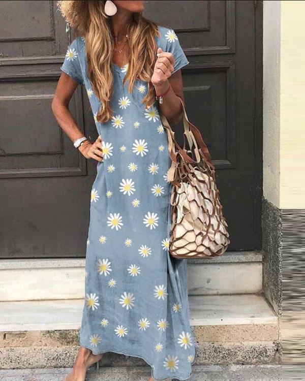 Floral V Neck Casual Short Sleeve Maxi Dresses