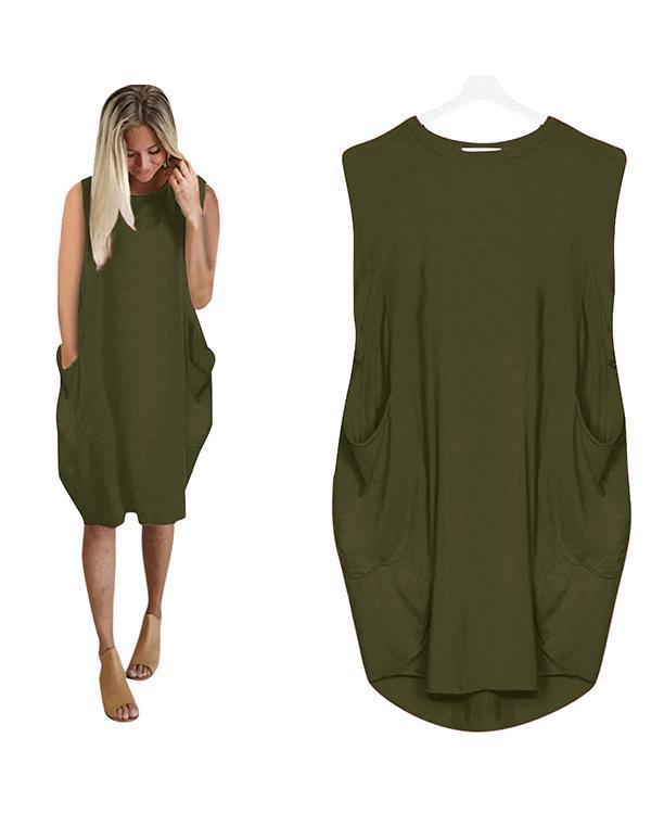 Oversized Long T-Shirt Sleeveless Midi Dress