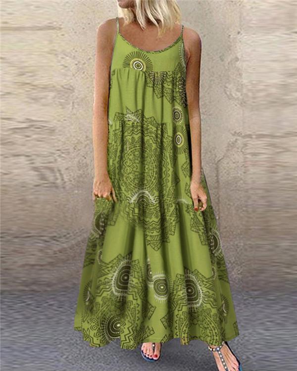 Bohemian  Gallus Printed Sexy Elegant Women Fashion Maxi Dresses