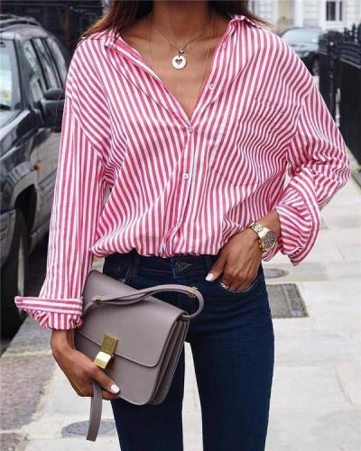5XL Striped Forked Tail Loose Casual Holiday Daily Blouse