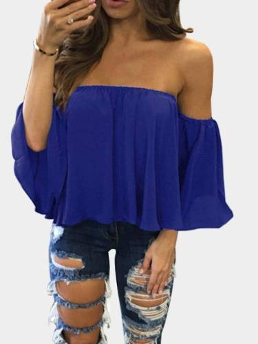 Blue Sexy Off Shoulder Loose Fit Blouse Tops