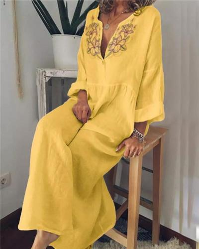 Plus Size Cotton Linen V Neck Solid Casual Maxi Dress