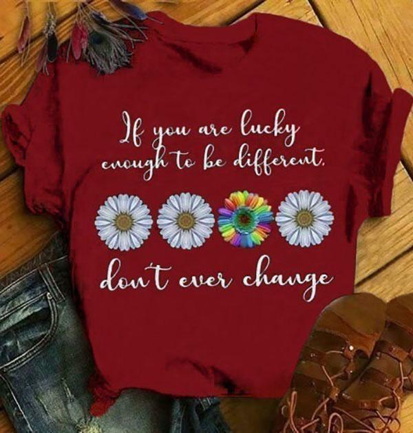 Women Short Sleeves Round Collar Printed Floral T-shirt