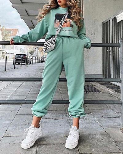 Fashion Comfy Candy Color Elastic Waist Loose Jogger Pants