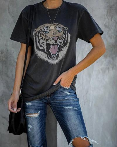 Vintage Pullover Short Sleeve Tiger Printed T-Shirts