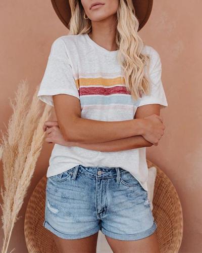 Lightweight Breathable Rainbow Stripe Printed T-Shirts