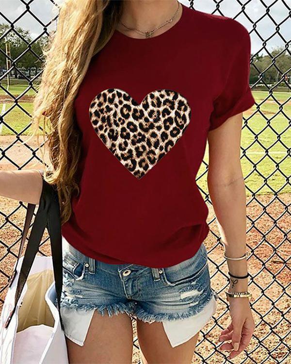 Leopard Heart Women Short Sleeve Shirt Printed Tops