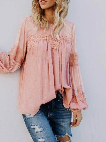 Lace Solid Long Sleeve Crew Neck Casual Blouse