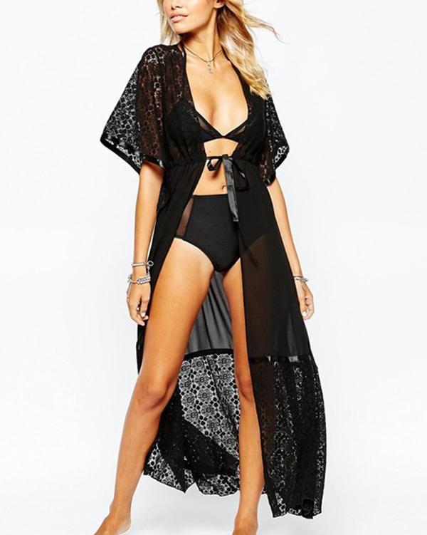 Decorative Lace Plain Kimono Swimwear Cover Ups