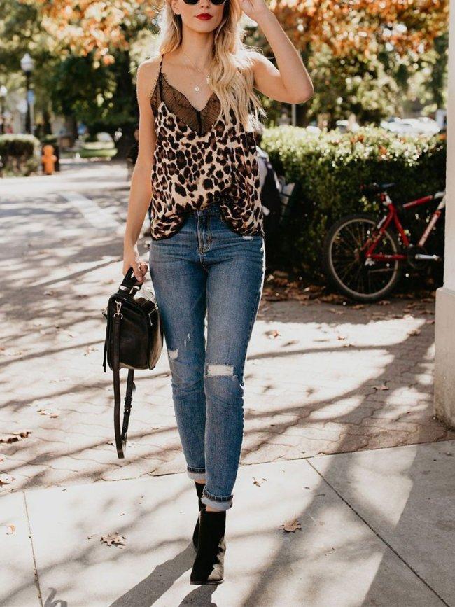 Leopard Spaghetti-Strap V Neck Lace Patchwork Tanks & Camis