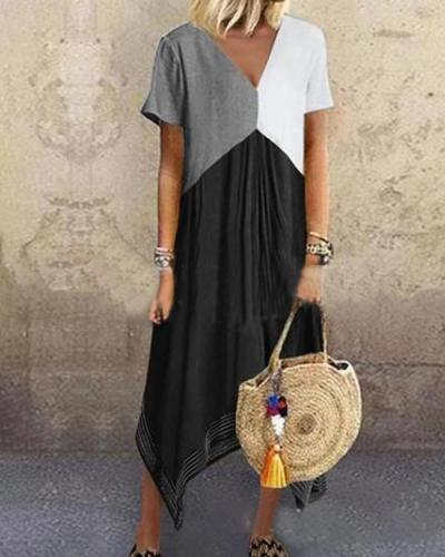 Irregular Printed V Neck Holiday Daily Fashion Maxi Dresses