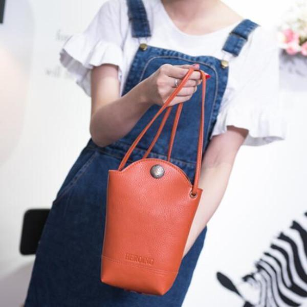 Casual Little Bucket Bag Phone Bag PU Crossbody Bag