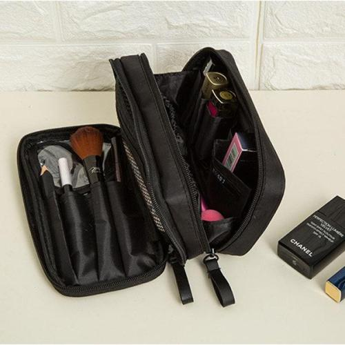 Elegant Black Duble Zipper Cosmetic Bag Travel Storage Bag