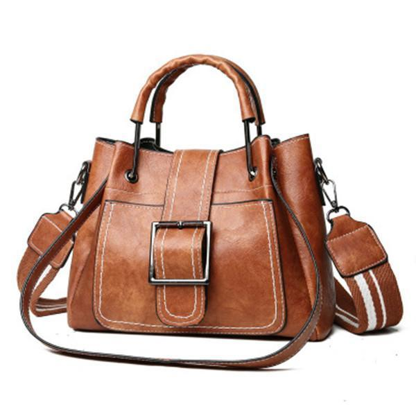 Large Capacity Retro Buckle Bucket Shoulder Bag Tote Bag