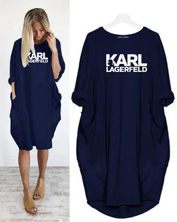 Casual Round-Neck Letter Printed Pocket Fashion Midi Dress