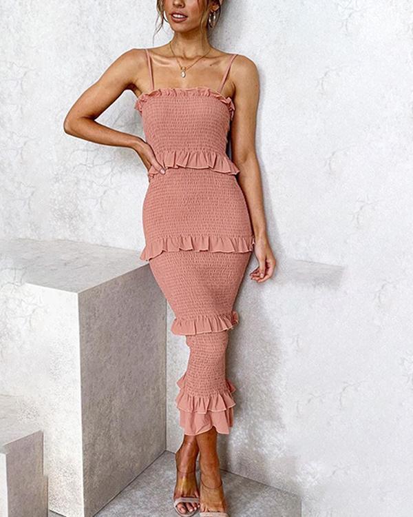 Fashion Slim Pleated Sling Cake Midi Dress