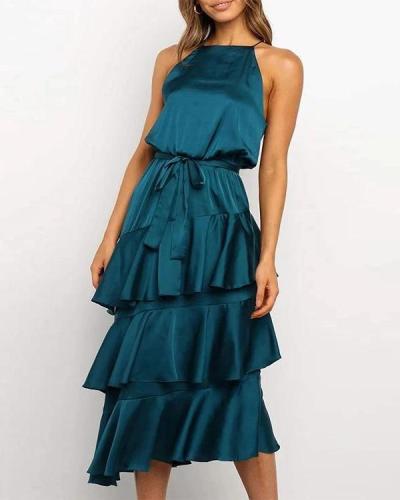 Elegant Solid Irregular Layered Skirt Tie Waist Maxi Dress