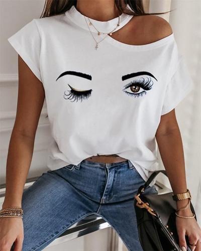 Wink Print Cold Shoulder Casual T-shirt