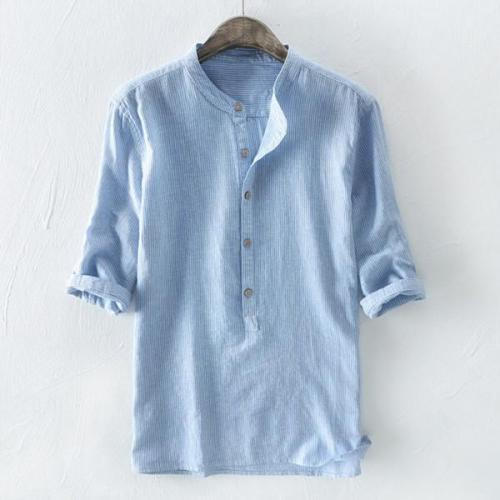 100% Cotton Breathable Striped Half Sleeve Loose Buttons T-Shirts For Men