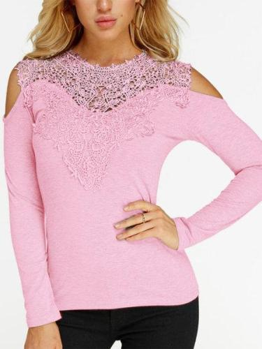 Lace Details Cold Shoulder Long Sleeves Causal Tshirts