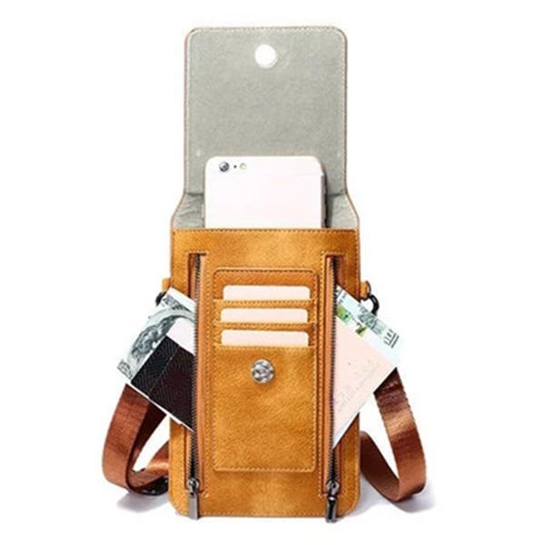 Retro Genuine Leather Card Holder 6 Inch Phone Purse Crossbody Bag