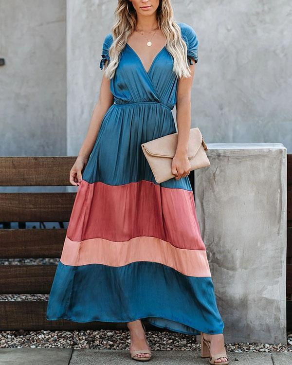 Hypnotize Satin Colorblock Maxi Dress