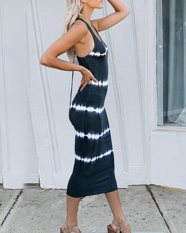 Tie Dye Striped Slim Fit Casual Midi Dress