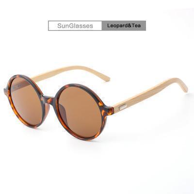 Round Mirror Eyewear Wild Unisex Bamboo Frame Sun Glasses