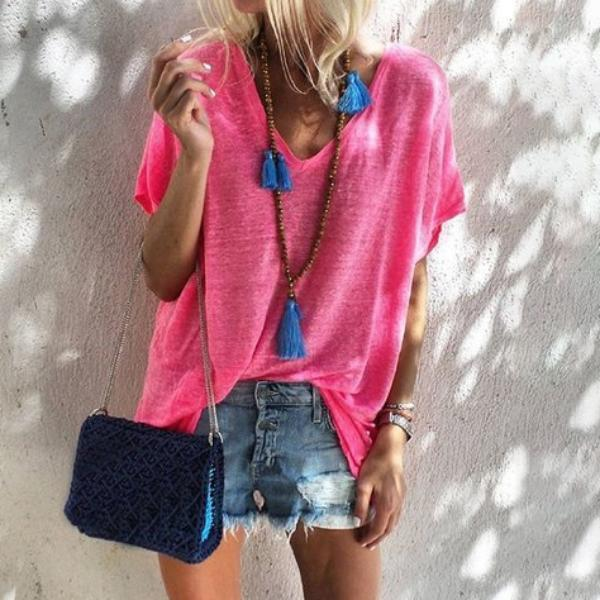 Fashion Short Sleeve Solid V Neck Casual T-Shirts Tops