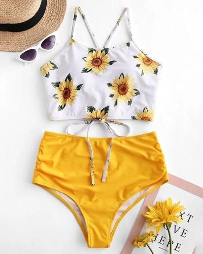 Sexy Swimsuit Sunflower Print High Waist Split Bikini