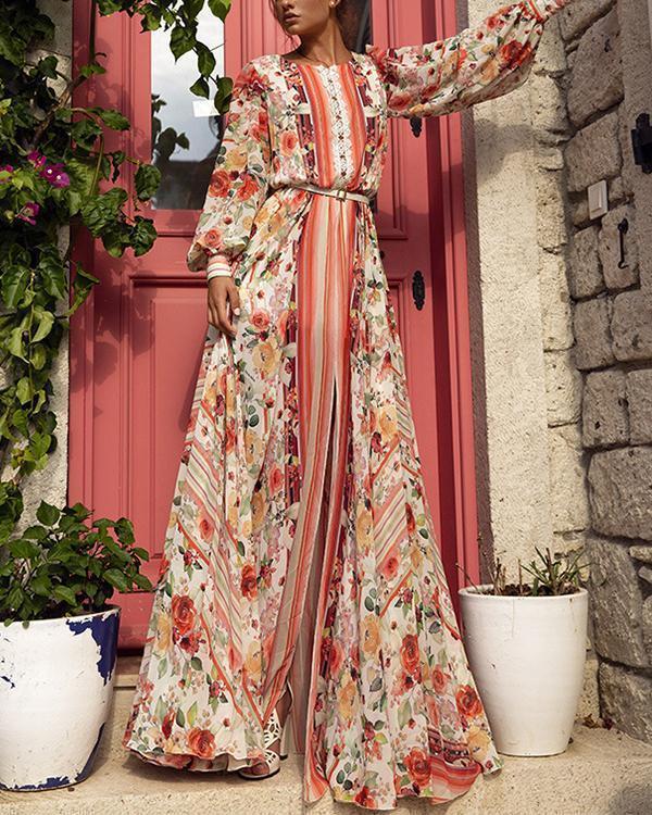 Crew Neck Floral Print A-line Slit Holiday Dress