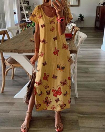 Printed Summer Maxi Dress Crew Neck Women Dresses