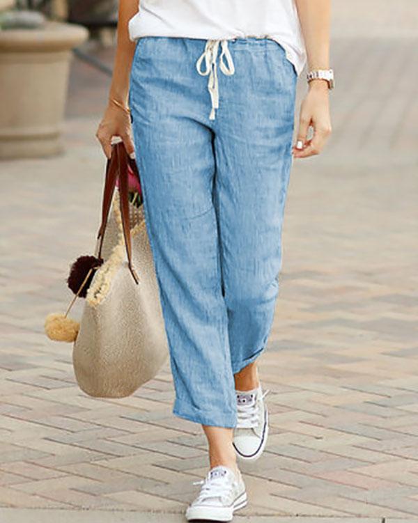 Women Solid Pockets Shift Pants