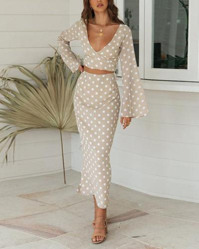 Elegant Polka Dot V-neck Lace Up Two Piece Skirt Suits