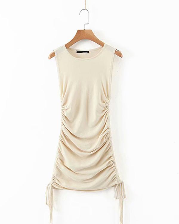 Elegant Knitted Sleeveless Drawstring Lace up Mini Dress