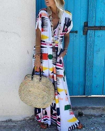 Fashion V-Neck Waist Printed Short Sleeve Maxi Dress