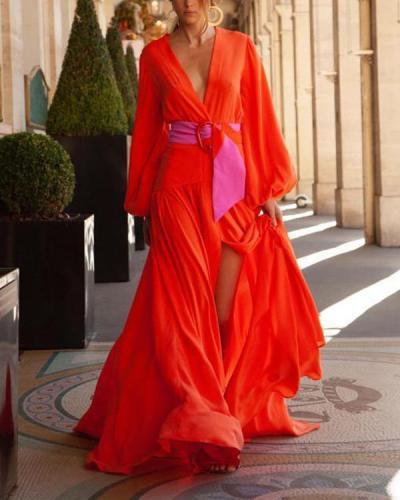 Red Women Elegant Maxi Dress Vacation V-neck Dresses